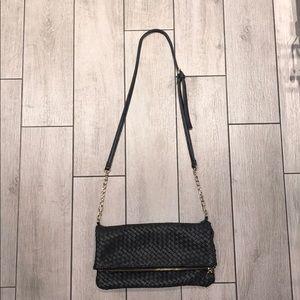 Black faux leather crossbody bag